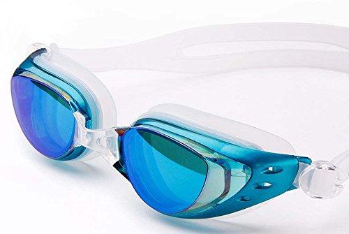 UCCOK Plating Myopia Swimming Goggles Anti-Fog Big Box Waterproof Men and Women/Children(Light Blue Plating)
