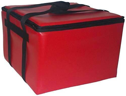"TCB Insulated Bags HG-2-Red Insulated Pizza Delivery Bag, Holds 5 Each 16"" Pizzas, Zipper Lid, Red"