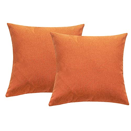 4TH Emotion Outdoor Waterproof Throw Pillow Covers Garden Cushion Case for Fall Patio Couch Sofa Polyester Cotton Home Decoration Pack of 2, 20 X 20 Inches Orange]()