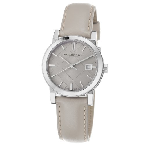 Burberry Women's BU9107 Large Check Tan Leather Strap - Warehouse Burberry