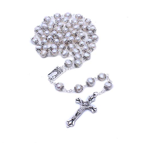 Ytbeauti Freshwater Pearl Rosary Necklace Antique Catholic Religious Jewelry The Rosary Beads ()