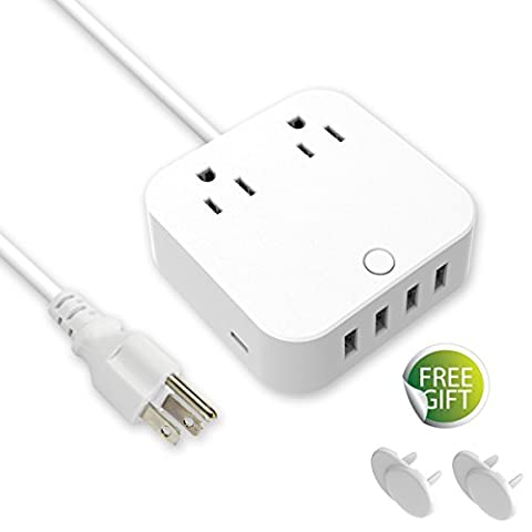 USB Extension Cord - Surge Protector Power Strip, Type-C Charging Port (5V/3A) & 4 USB Ports (5V/2.4A), Portable Travel Charger Station for iPhone iPad Samsung Galaxy & Tablets, USB C Not for (4x4 Spike)
