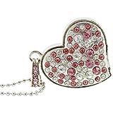 CHUYI Jewelry Crystal Heart Shape 64GB USB 2.0 Flash Drive for Girls Pen Drive Diamond Necklace Memory Stick Cute Thumb Drive Pendant Gift Silver