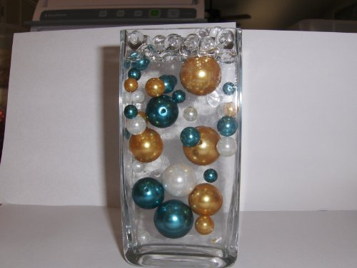 Easy Elegance by JellyBeadZ White, Teal and Gold Pearls with 12 Gram Pack Clear Water Bead Gel Used for Weddings and Centerpieces (Teal Gold Beads)