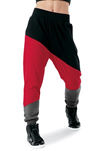 Balera Pants Girls Harem Pants for Dance Color Block Three Color Bottoms Black/Red Adult Large from Balera