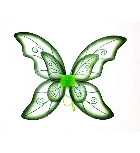 Mozlly Double Layer Green Fairy Wings for Adults w/ Garterized Strap 23