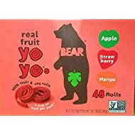 Bear Yoyos Real Fruit Rolls Snacks Leather Variety Pack: Apple, Strawberry, Mango, 24 - 0.7 oz Count