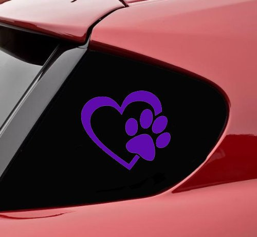 Purple Decals - HEART with DOG PAW Puppy Love 4