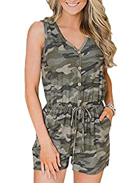 NANYUA Women Summer Camo Button Waist Drawnstring Jumpsuits Playsuits with Pocket
