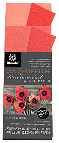 (Lia Griffith Double Sided Crepe Paper Folds Roll, 6.7-Square Feet, Strawberry and Tulip Pink, Flamingo and Peony Pink (LG11021))