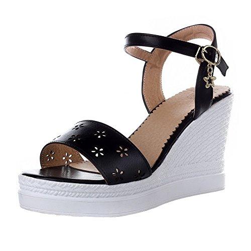 Toe Buckle Black Women's Sandals Heels VogueZone009 High Pu Open Solid 1tAxqWW5wn