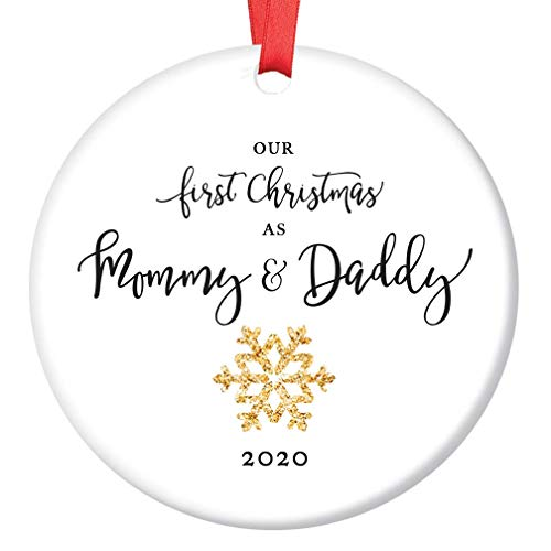 Our First Christmas As Mommy & Daddy Ornament 2020 New Parents 1st Holiday Mom & Dad Newborn Infant Golden Sparkle Snowflake Ceramic Keepsake 3