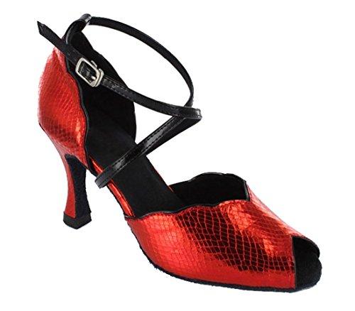 Tda Damesmode Enkelbandje Slangenhuid Synthetische Salsa Tango Latin Moderne Dans Trouwschoenen Rood