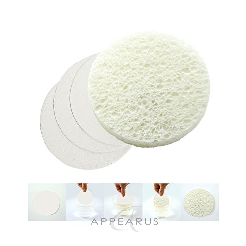 Appearus Compressed Natural Cellulose Facial Sponges, White, Made in USA (100 count/S1901W) by Appearus (Image #5)