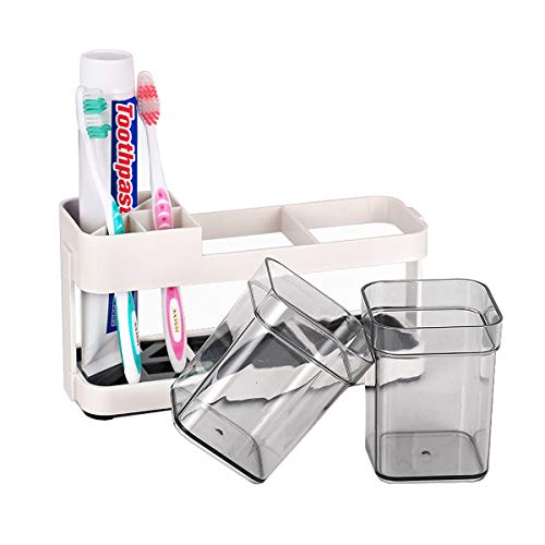 Funly mee Toothbrush and Toothpaste Stand Holder with 2 Cups for Bathroom Storage Organizer,4 Slots for Electric Toothbrush, Toothpaste, Razor (2 Cups)