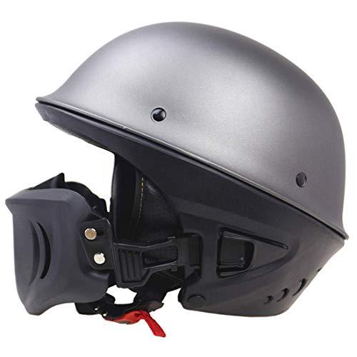 (MMRLee Zombie Racing DOT Certified Heavy Motorcycle Helmet Harley Retro Helmet Rogue Half Helmet - Detachable mask Matte Color,Silver,L)