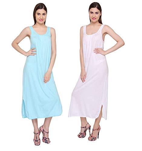 Valentine Cotton Full Length Camisole for Women – Long Innerwear Petticoat – Plus Size Nighty Slip (Aqua – White, 5XL)
