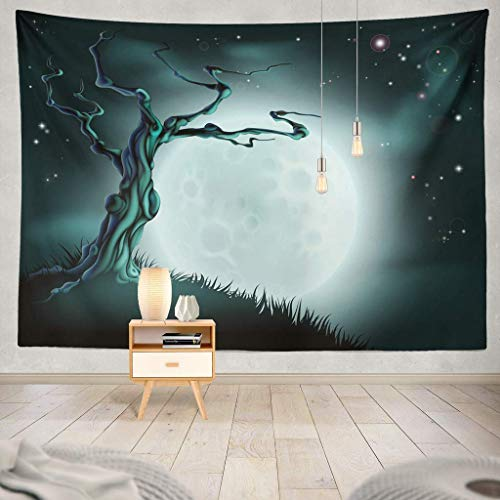 KIMILT HEY Eco-Friendly Silky Tapestry Spooky Scary Blue Halloween Scene with Full Moon Clouds Hill and Scary Tree Scary Moon Halloween Tree Cartoon Wall Hanging,Picnic Blanket,Tablecloth,60X60 -