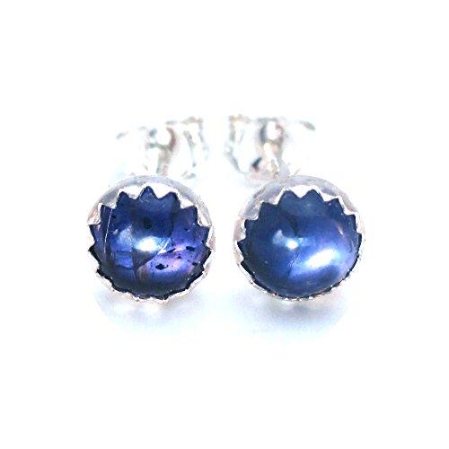 Iolite Stud Earrings, Violet Gemstone 5mm Post Earrings (Bezel Iolite Ring)