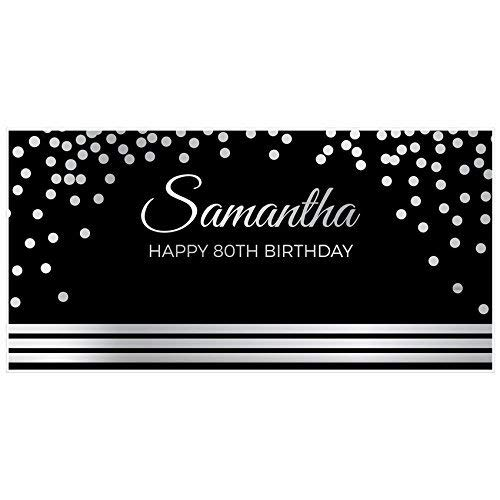 Elegant Silver and Black 80th Birthday Banner Party Backdrop