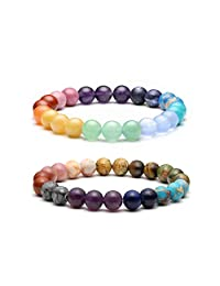 Top Plaza Mens Womens Natural 8MM Gemstone Beads Chakra Healing Crystals Reiki Balancing Stretch Bracelets Tiger Eye Stone Semi Precious Elastic Bracelet Set