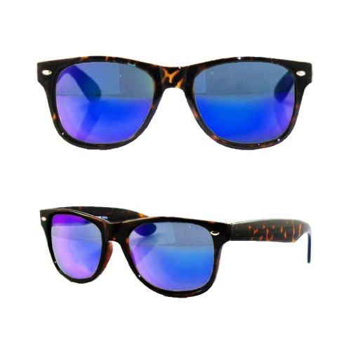 Retro Vintage Retro Classic Sunglasses Gift Box Mens Womens (Tortoise (Blue Color Mirror ), - Tortoise Color Blue
