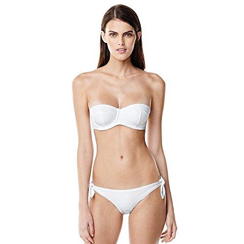 Canvas by Lands' End Women's Bandeau Bikini Top, 10, White