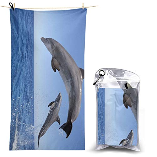 - Hguftu5du Beach Quick-Drying Dolphins Bath Towel Large Size Microfiber Yoga Towel Outdoor Quick-Drying Towel Absorbent 27.5'' X 51''