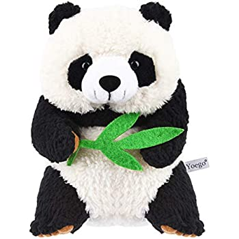 Yoego Talking Toy, Plush Panda Cute Sound Effects with Repeats What You Say Educational Talking Panda Toy,Best Buddy for Kids Age 3+(Black & White)