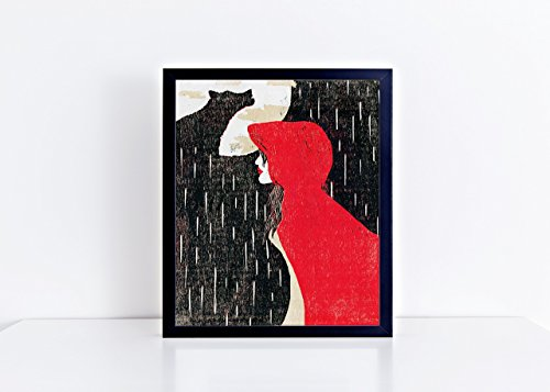 Red Riding Hood 8x10 Woodblock Quote Print - Unframed ( Other sizes available )