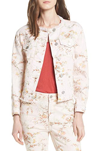 (Rebecca Taylor Womens Large Floral Print Denim Jacket Pink L)