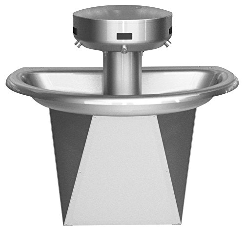 (Bradley S93-629 Sentry Shallow Bowl Semicircular Stainless Steel Wash Fountain for Up to 3 Users, 54