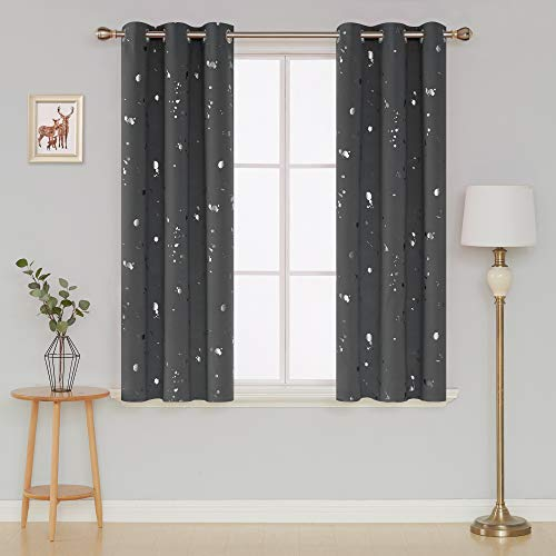Deconovo Silver Dots Printed Thermal Insulated Blackout Wind