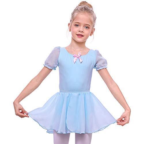 MHJY Girls Leotard with Separated Skirt Kids Puff Sleeve Dance Ballet Tutu Dress Blue