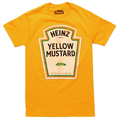 Heinz Mustard Bottle Logo Classic Vintage Retro Funny Halloween Costume Men's T-Shirt (Gold, Medium) -