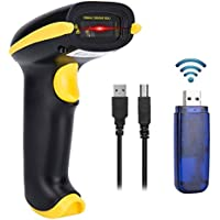 Yaoni 433Mhz Barcode Scanner Wireless USB Handheld Automatic Barcode Reader Long Transmission Distance 1D Laser Bar Code Scanner (Black and Yellow)