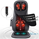 Naipo Back and Neck Massager Shiatsu Massage Chair Seat Cushion with Heat Rolling Kneading Vibration for Pin-Point Full Body at Office, Home & Car