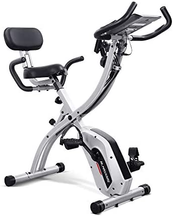 Maxkare 3-IN-1 Folding Exercise Bike w Pulse Sensor Arm Resistance Bands LCD Monitor Recumbent Stationary Magnetic Indoor Cycling Bike