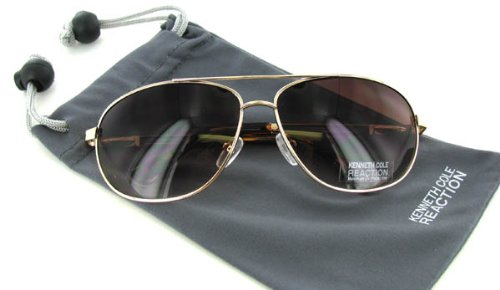 fb6657c80 Amazon.com: Kenneth Cole Reaction KC1069 Gold Brown Aviator Sunglasses:  Clothing