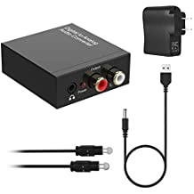 Digital to Analog Converter DAC, SPDIF Coaxial Optical Convert to L/R RCA and 3.5mm Audio Adapter