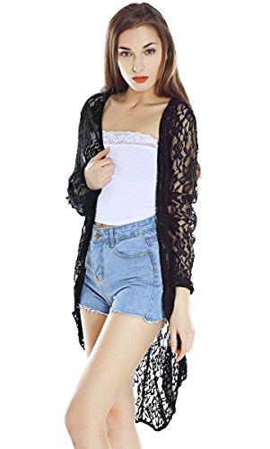 Women's Light Loose Solid Lace Elegant Long Sleeve Sheer Long Kimono (XX-Large, Black)