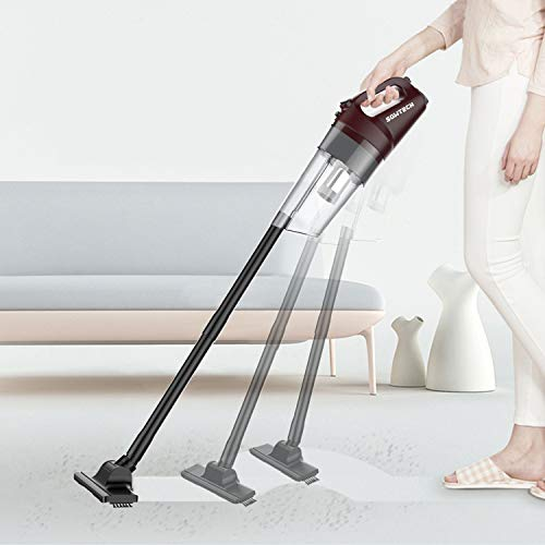 SOWTECH Cordless Vacuum 6 in 1 Cyclonic Suction Lightweight Handheld Vacuum Cleaner with Stainless Steel Filter (Bagless) Rechargeable Lithium Ion - Red