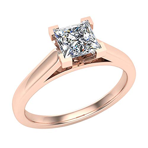 Princess cut Diamond Engagement Ring for women 3/8 Carat 14K Rose Gold 4 prong Solitaire Setting (G Color, VS2 Clarity) (Ring Size 7) ()