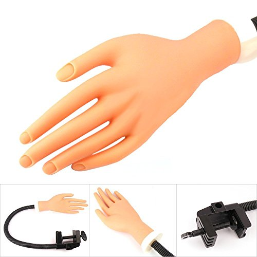 Beauticom USA (Model V-227-PH) Flexible Soft Nail Practice Hand with Adjustable Holder Stand