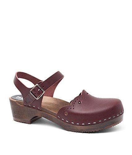 Sandgrens Swedish Wooden Low Heel Clog Sandals For Women   Sandgrens Svensk Træ Lave Hæl Tilstoppe Sandaler Til Kvinder   Milan Bordeaux Milan Bordeaux O8IXIhM