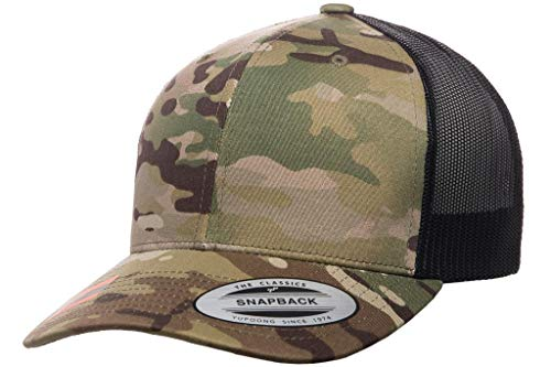 - Running Partner Yupoong 6606 Curved Bill Trucker Mesh Snapback Hat with NoSweat Hat Liner (Multicam, 1)