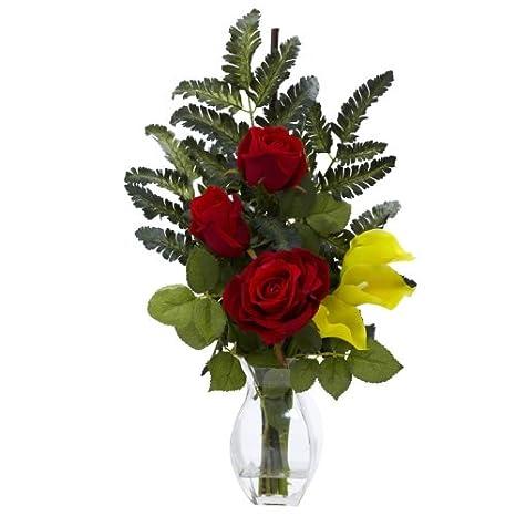 Amazon.com: Al por mayor rosa amarilla y Calla W/Jarrón ...