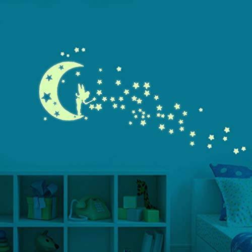 Moon Glow in The Dark Wall Stickers, Fairytale Fairy Glow Stickers and Stars Wall Decals Vinyl Design for Nursery Room DIY Mural Decoration -