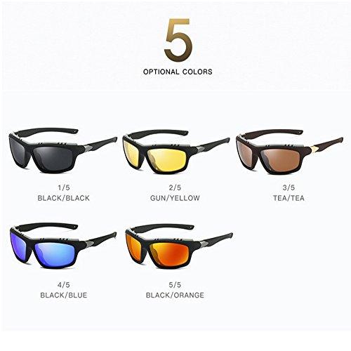 Gafas Polarizadas para de Windproof Orange Sol LBY Hombre Negro Sol De Gafas Sol Color Sport De Gafas tz77qfxwU