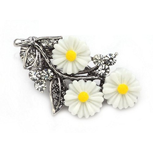 Barrette Floral Spray White Made With Crystal Glass & Tin Alloy by JOE - Uk Cool Glasses